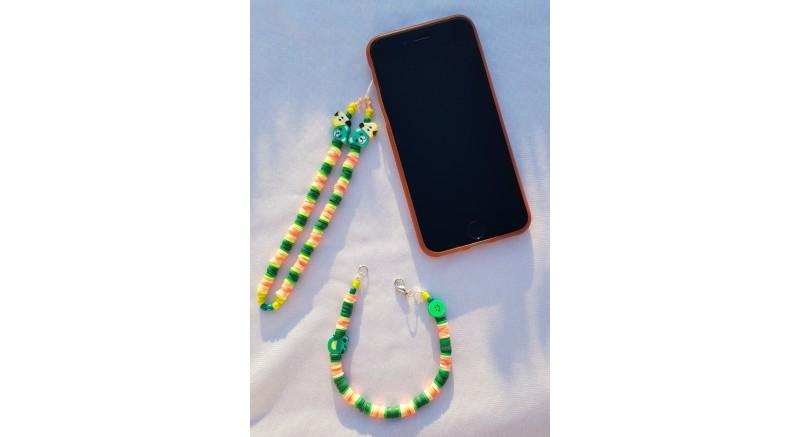 Fimo Boncuk Telefon Charm 011 - Yeşil Sarı Charm...